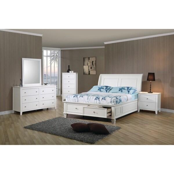 Selena Coastal White 4-piece Bedroom Set with Storage Bed