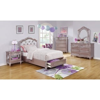 Caroline Metallic Lilac 5-piece Bedroom Set with Storage Bed