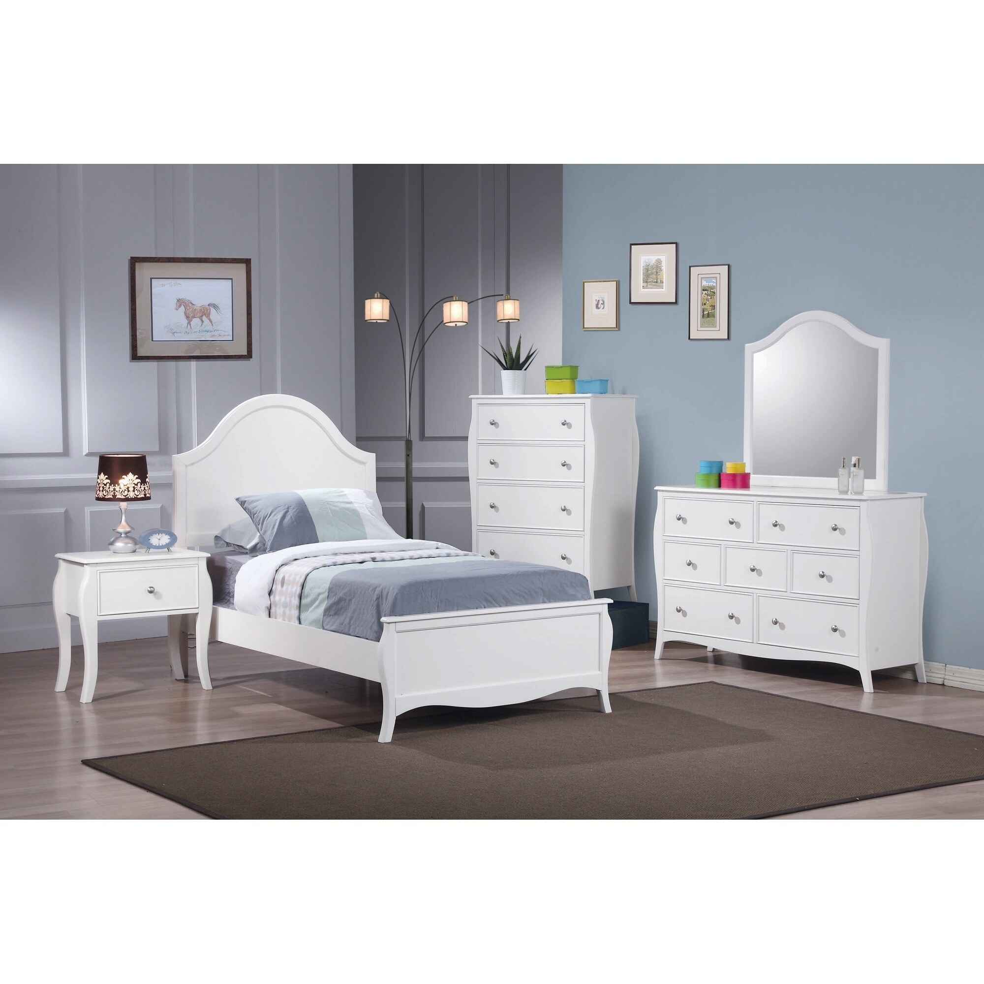 Maison Rouge Terian French Country White 4 Piece Bedroom Set