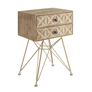 Linon Greyson Goldtone and Natural Wood and Metal 2-drawer Accent Table