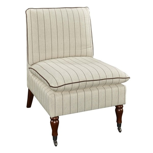 Poppy Stripe Beige Pillow Top Slipper Chair