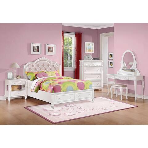 Caroline White 4-piece Bedroom Set with Storage Bed
