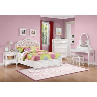 Caroline White 4-piece Bedroom Set with Storage Bed