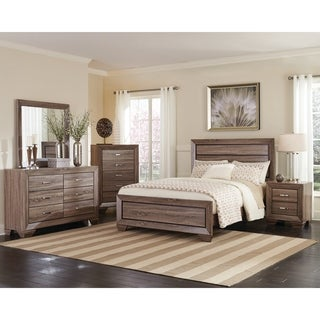 Kauffman Washed Taupe 4-piece Bedroom Set with Storage Bed