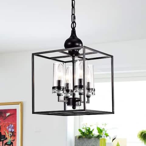 Percival Black 4-Light Pendant with Clear Glass Shade