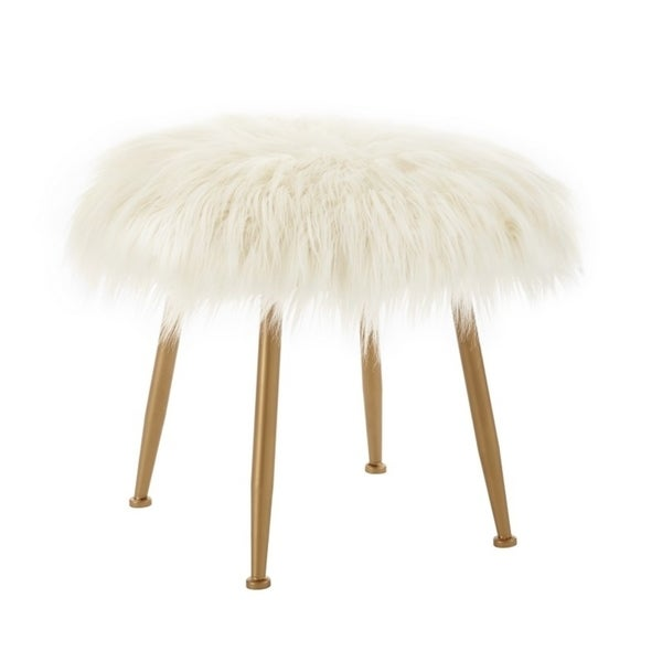 Aster Cream Faux-fur Stool. Opens flyout.