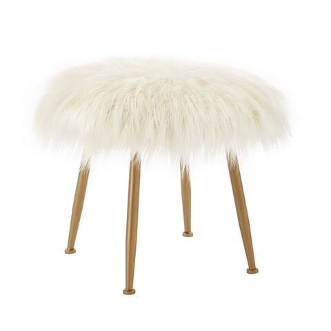 Aster Cream Faux-fur Stool