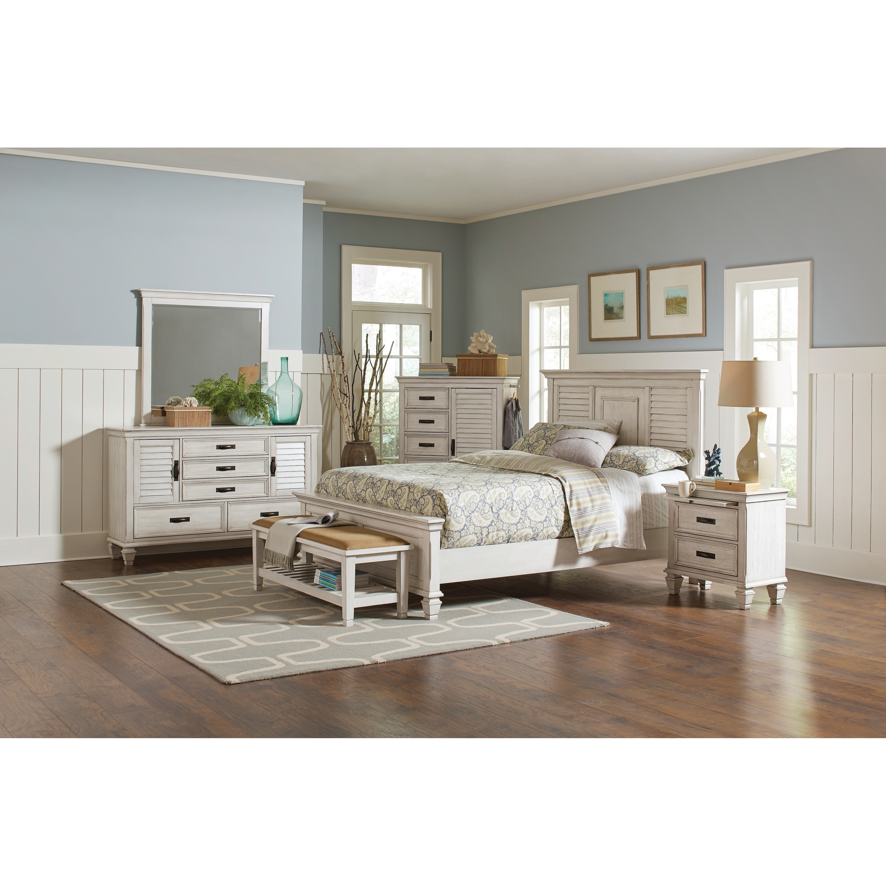 Shop Franco Antique White 5 Piece Bedroom Set Overstock 21585978