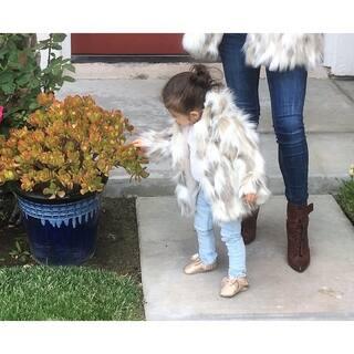 Jaeani Grace Luxury Girl's Coat in Tibet Fox Faux Fur