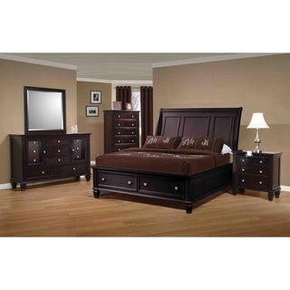 Sandy Beach Cappuccino 4-piece Bedroom Set with Storage Bed