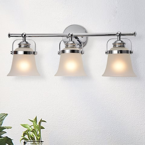 Krishna Chrome 3-Light Wall Sconce with Frosted Glass Shade