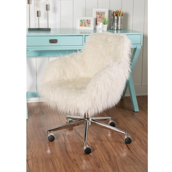 Amber Off-white Faux-fur Office Chair