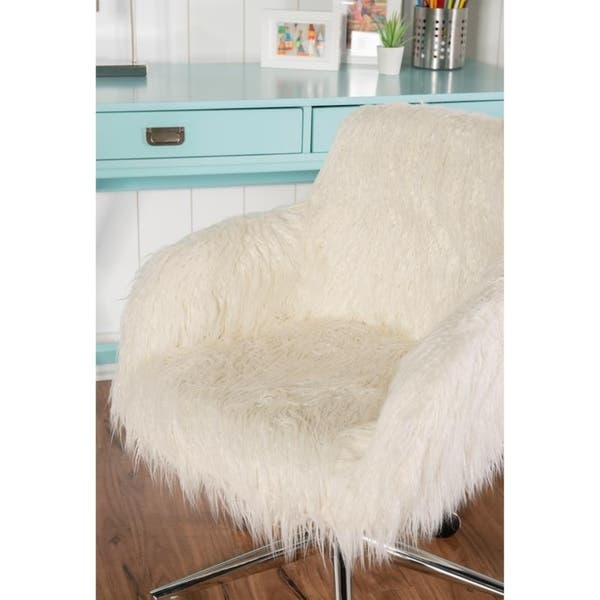 Amber Off White Faux Fur Office Chair