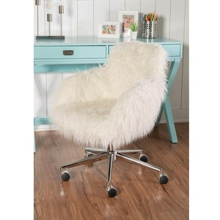 Linon Amber White Faux Fur Office Chair
