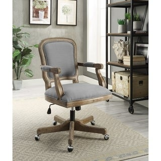 Linon Willa Light Grey Fabric, Metal, and Wood Rustic Office Chair