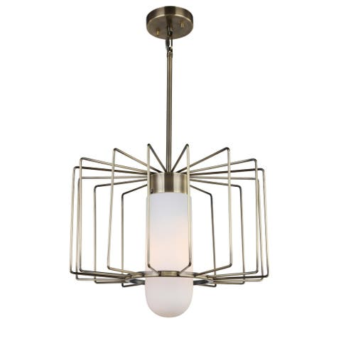 Woodbridge Lighting 19322CBRLE Tanner Drum Cage Pendant w/ Embedded LED