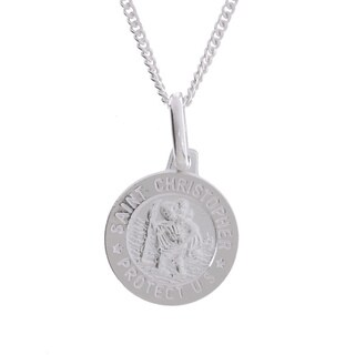 Sterling Silver 16-inch Saint Christopher Medal Necklace