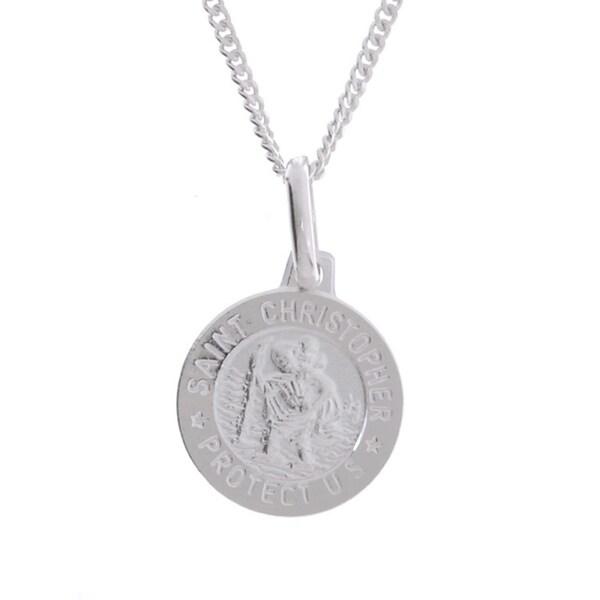 0338da43689 Sterling Essentials Sterling Silver 16-inch Saint Christopher Medal Necklace