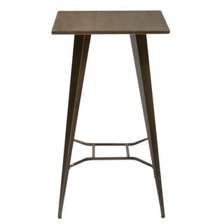 Industrial Antique Distressed Rustic Metal Dining Pub Bar Table with Wood Top