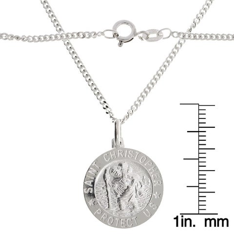Sterling Silver 22-inch Saint Christopher Medal Necklace