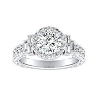 Auriya 14k Gold Vintage-Inspired 1/2ct Moissanite and 9/10ct TDW Diamond Halo Engagement Ring