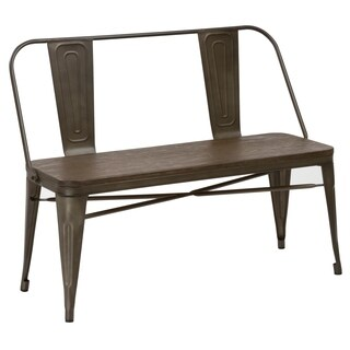 Industrial Antique Rustic Wood Metal Dining Bench Full Back