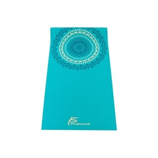 ProSource Yoga Mats 3/16 (5mm) Thick for Comfort Stability w/ Exclusive Printed Design - Mandala - aqua