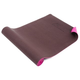 ProSource Original Yoga Pilates Mat ¼ Thick for Comfort Stability with Carrying Straps - brown/pink - brown