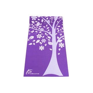 ProSource Yoga Mats 3/16 (5mm) Thick for Comfort Stability w/ Exclusive Printed Design Tree of Life - Purple