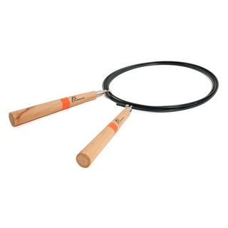 ProSource Premium Speed Cable Jump Rope w/Wooden Handles Super-Fast Fully Adjustable 10' Long
