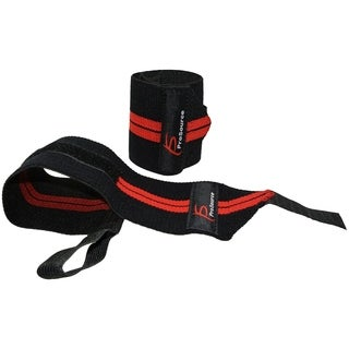 ProSource Barbell Weight Lifting Adjustable Wrist Wrap Support w/ Thumb Loop for Crossfit Gym Red