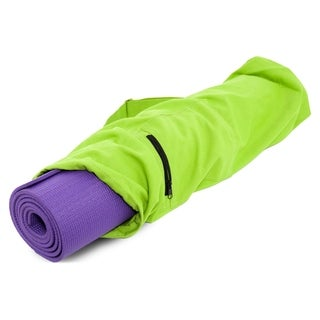 "ProSource Yoga Mat Bag with Side Zip Cargo Pocket and Cinch Top 28"" for Stylish Carrying - Green"