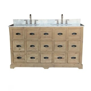 "60""Solid Recycled Fir Double Sink Bathroom Vanity with Carrara White Marble Top-No Faucet"