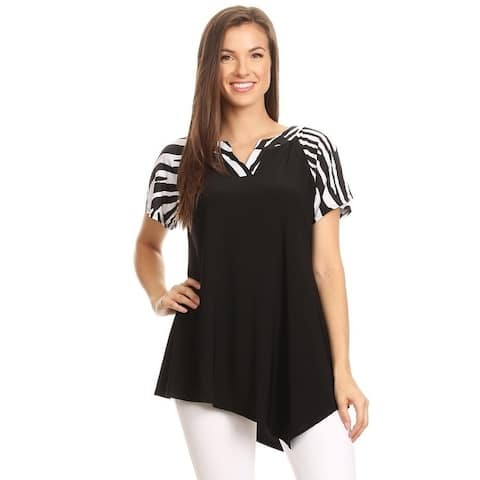 High Secret Women's Short Sleeves Print V-Neck Tunic Top