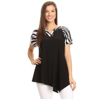 High Secret Women's Short Sleeves Print V-Neck Tunic Top (More options available)
