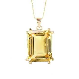 18KT Yellow Plating Gold Over Sterling Silver with Citrine Solitaire Pendant with 18'' Chain
