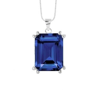 Sterling Silver with Blue Sapphire Solitaire Pendant with 18'' Chain