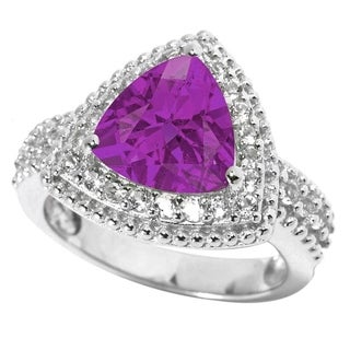 Sterling Silver Trillion Alexandrite and White Topaz Halo Ring