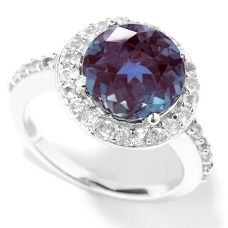 Sterling Silver Alexandrite And White Topaz Halo Ring