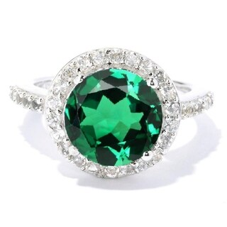 Sterling Silver Emerald And White Topaz Halo Ring - Green