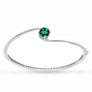 Sterling Silver Emerald Solitaire Bangle Bracelet - Green