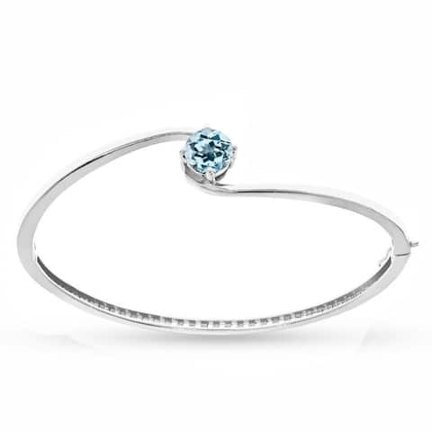 Sterling Silver Sky Blue Topaz Solitaire Bangle Bracelet