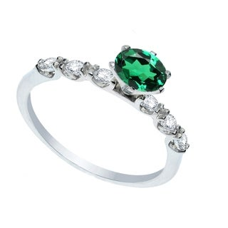 Sterling Silver Green Emerald and White Topaz Solitaire Engagement Ring
