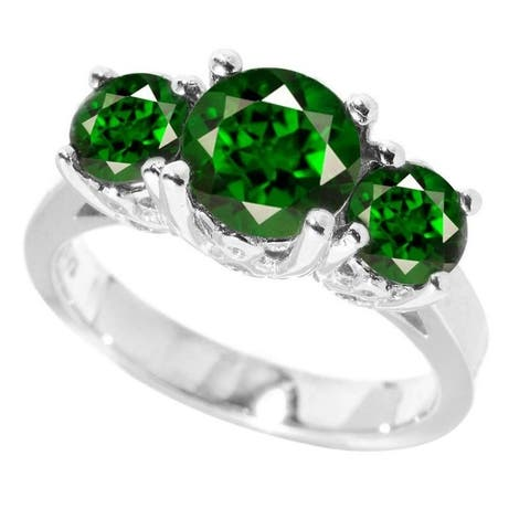 Sterling Silver Round Green Emerald Three stone Ring