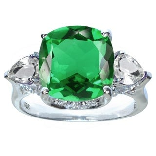 Sterling Silver with Emerald and White Topaz Halo Ring - Green
