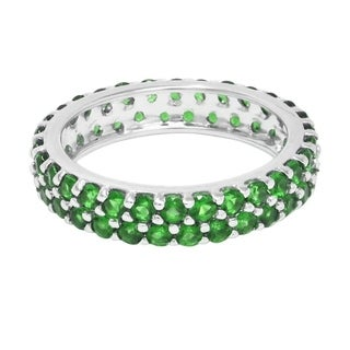 Sterling Silver Double Row Green Emerald Eternity Stackable Band Ring