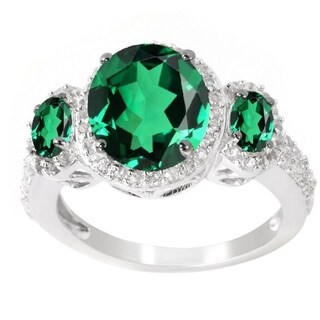 Sterling Silver Oval Emerald and White Topaz Three Stone Halo Ring - Green