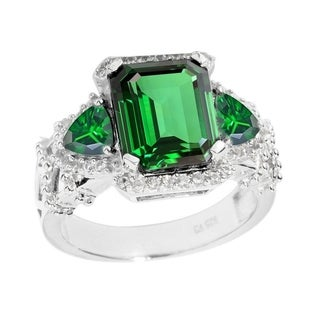 Sterling Silver Green Emerald and White Topaz Three Stone Ring