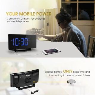 Mpow Projection Clock, FM Radio Alarm Clock, Curved-Screen Digital Alarm Clock