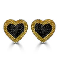 1/2 cttw Round Yellow & Black Diamond Heart Shape Cluster Stud Earrings with Screw Back Sterling Silver